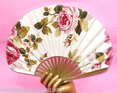 "SILK HAND FAN 8"" Folding Pocket Purse Asian Japanese NEW Pink Flowers Fabric"