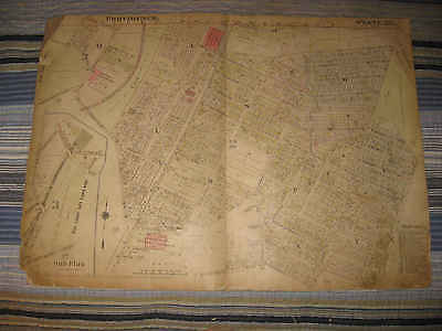 Huge Antique 1918 Providence Rhode Island Map State Commando Armory Railroad Nr