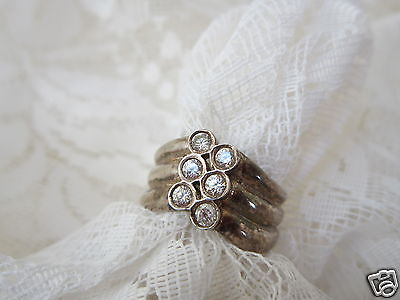 Sterling Silver 925 Ring With 6 Rose Cut Glass Chatons Size 8 3/4