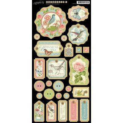 Graphic 45  Botanical Tea Collection Chipboard Die-Cuts Tags Set No.1  Birds...