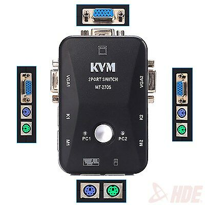 2 Port VGA/SVGA KVM Switch Box PS/2 Devices Share Video Mouse Keyboard Monitor