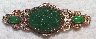 Vintage Carved Jade Green Flower Glass Fabulous Pin Brooch-Green-