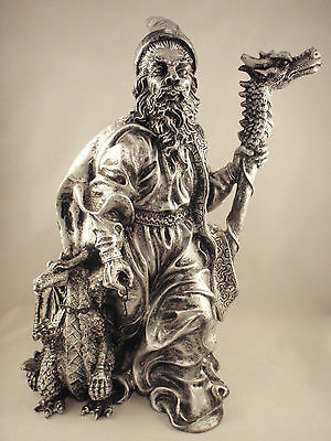 Wizard Statue Holding Staff w/ Pet Dragon Mythical Figurine Silver Plastic Resin