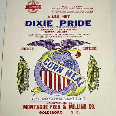 5lb Corn Meal Paper Bag/Sack-Dixie Pride-Montague Feed & Milling Co-Goldsboro NC