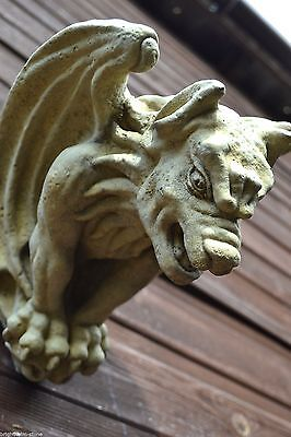 "Gargoyle Gothic wall plaque ""ghost buster"" frost proof stone garden ornament"