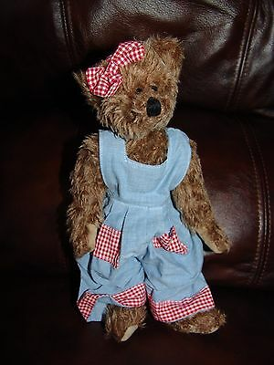 1993 Ty Beanie Baby Attic Collection Brown Bear w  Jean Outfit Plush Doll  10