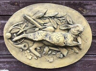 French Hare Hunting Scene oval wall plaque in relief stone garden ornament 51cmW