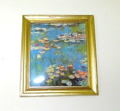 Dollhouse Mini Gilded Framed Monet Water Lllies Picture Doll House Miniatures