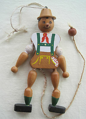 Vintage Pull Toy Wood Pinocchio Hand Painted Jumping Jointed Leg