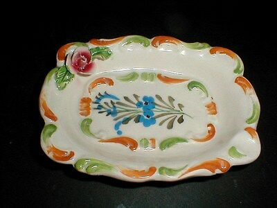 Italian Pottery Hand Painted Small Trinket Tray or Soap Dish Made in Italy- Cute