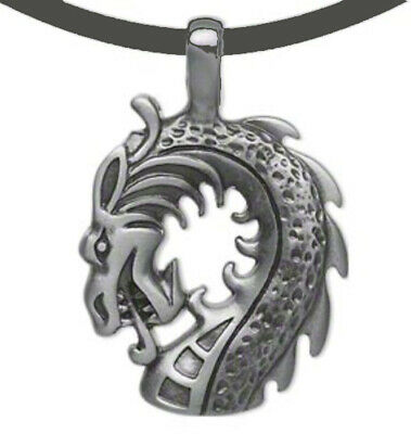 "Dragon Necklace Pewter Pendant 18"" Black Leather Cord Jewelry"