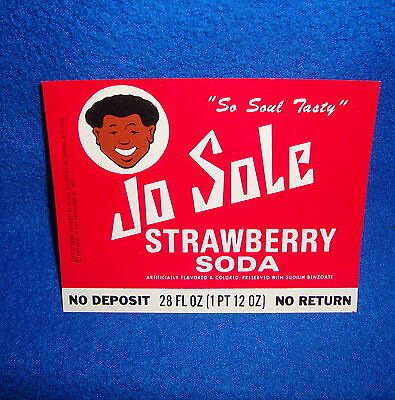 Vintage Black Americana Jo Sole Unused Soda Bottle Label