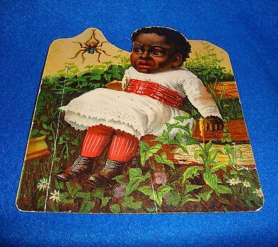 Vintage Black Americana Little Girl & Spider Cut-Out