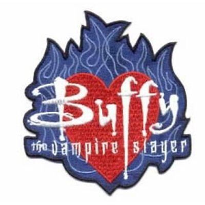 Buffy The Vampire Slayer Name On Heart In Flames Logo Embroidered Patch, UNUSED