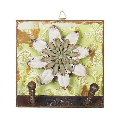 New Stunning Unique Shabby Chic Wall Hat Coat 2*hook Rack Flower