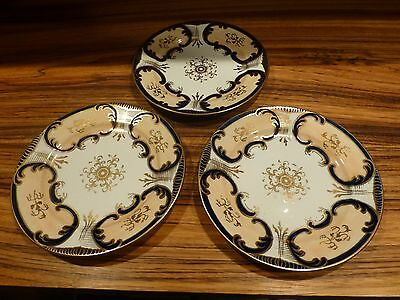 """Great set of 3 porcelain plate - English ? hand painted ca. 1920 7 1/2"""""""