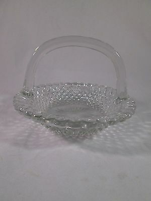 Clear Glass Basket Candy Trinket Dish Diamond Point Design with Handle Decor