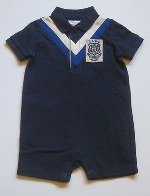 Ralph Lauren Baby Boys One Piece S/S Polo Navy Blue Rugby Patch Onesy Romper