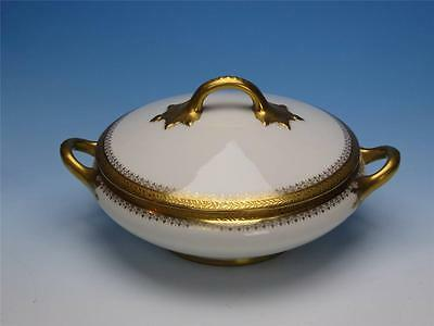J Pouyat Limoges France - Gold Embossed Borders - Round Covered Casserole Dish