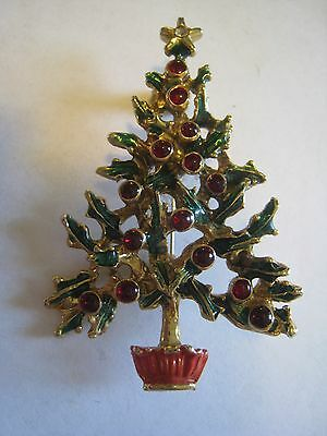 Gold Tone & Green Enamel Christmas Tree Brooch With Small Red Glass Cabochons