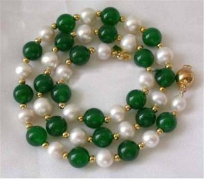 """Natural 7-8MM White Akoya Pearl & Green Jade Round Gems Beads Necklace 18"""""""
