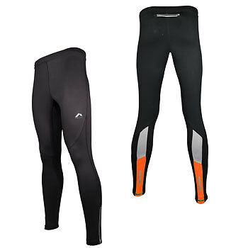 More Mile More-Tech Mens Long Running Tights Leggings Black/Orange