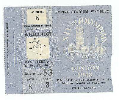 Orig.ticket    Olympic Games LONDON 1948 - ATHLETICS  06.08.1948 // 2 FINAL`s !!