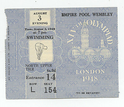 Orig.ticket    Olympic Games LONDON 1948 - SWIMMING 03.08.1948 // 4 FINAL`s !!
