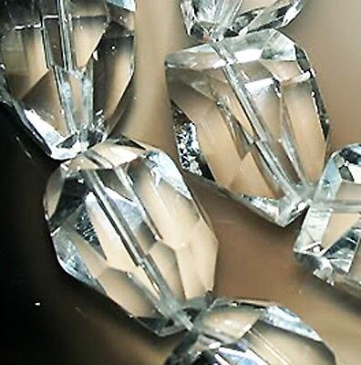 """15x18mm Faceted white Crystal Quartz Nugget beads 13"""""""