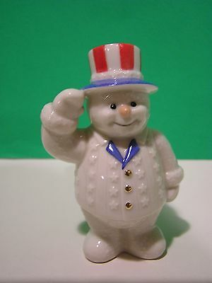 LENOX July patriotic SNOWMAN sculpture NEW in BOX with COA