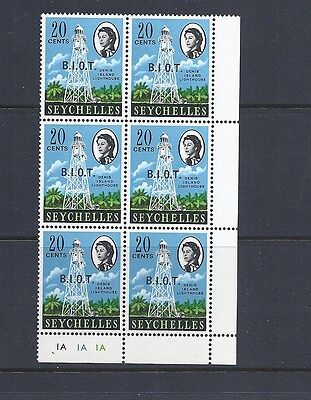 BIOT 1968 QEII Ovpt (SG 4a 20c  NO STOP after 'I')  in MNH plate block of 6