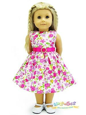 "Doll Clothes fits 18"" American Girl Handmade Hot Pink Floral Rhinestone Dress"