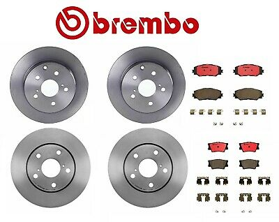 Brembo Rotors Rav4 4cyl 07-14 without 3rd Row Seating Brake Pads Front+Rear