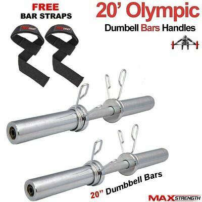 "MAXSTRENGTH Chrome 2"" Olympic Dumbbells Barbell Bar Weight Lifting Spring Locks"