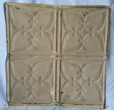 "12"" x 12"" Antique Tin Ceiling Tile *SEE OUR SALVAGE VIDEOS* Taupe Metal DD6"