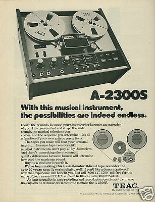 """1976 TEAC A-2300S Tape Recorder """"Possibilites Are Indeed Endless"""" Original Ad"""