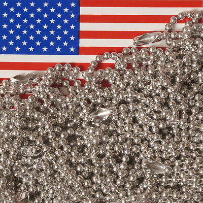 "Lot of 25 Aluminum 30"" Ball Chain Necklaces, 2.4mm #3 Bead, MADE IN USA"