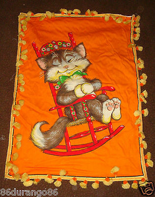 VINTAGE PANEL TIME WESCO RELTEX CAT NAP ROCKING CHAIR WALL FABRIC PANEL QUILT