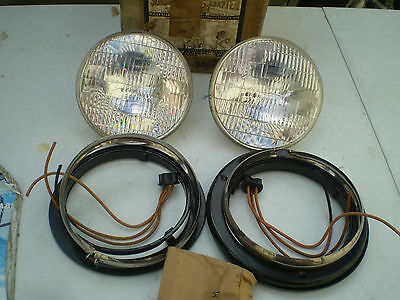 1938 PLYMOUTH DODGE DESOTO SEALED BEAM HEADLIGHT ADAPTER KIT WITH BULBS