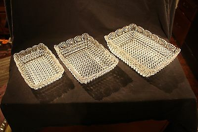 Set Of 3 Vintage EAPG Hobnail And Fan Rectangle Dishes, Very Nice