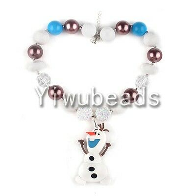 New Fashion Olaf Frozen Pendant Chunky Gumball Bubblegum Beads Necklace Jewelry