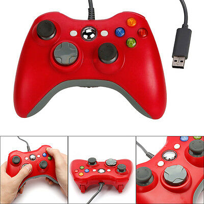 Red USB Wired Controller Gamepad Joystick For Microsoft Xbox 360 PC Windows UK