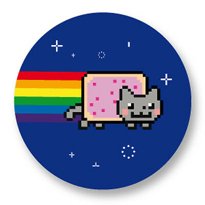 Pin Button Badge Ø38mm Nyan Cat Pop art Cat Gif Geek Rainbow