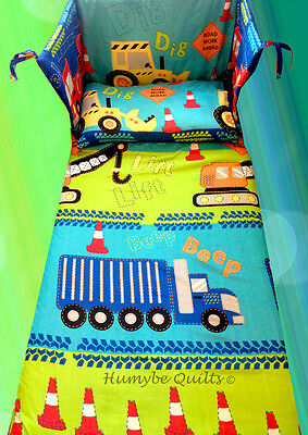 Boys Cars Transport Road Works Builder - COT BEDDING SET - all sizes available