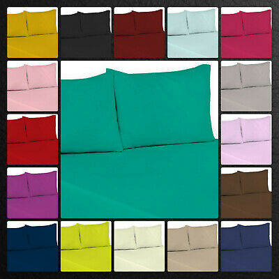 Top Quality Polycotton Flat Sheets Single Double King Super King Size Pillowcase