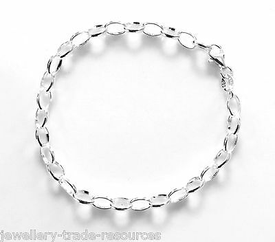 "New 7"" 925 Sterling Silver Belcher Link Chain Bracelet 5mm Wide"