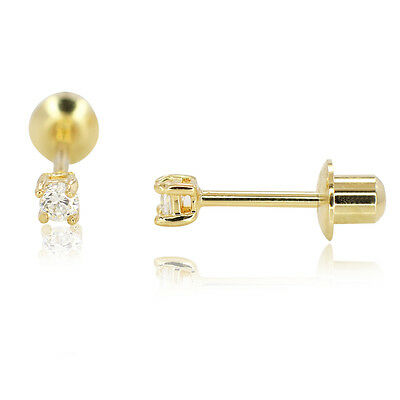 2mm Extra Small Gold Filled 18k Round CZ White Screwback Earrings Baby Children