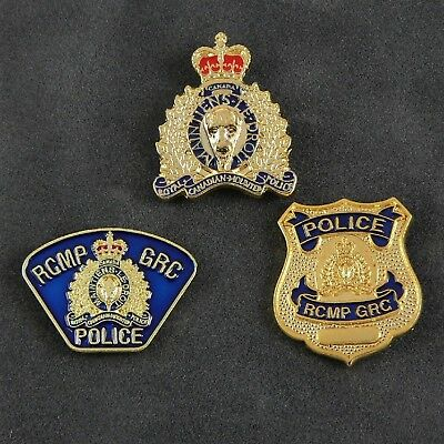 Canada RCMP GRC Royal Canadian Mounted Police Embossed Crest Mini Lapel Pin Set