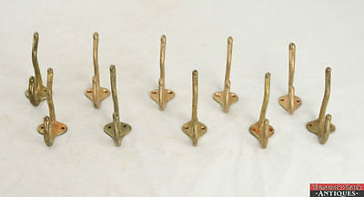 10 Set Gold Victorian Antique 3″ Hook Hardware Cast Iron Coat Clothes Hanger VTG