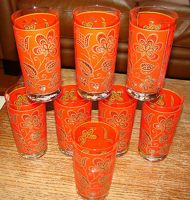 8 Vintage Retro Libbey Red and Gold Floral Design Glasses Tumblers Coolers